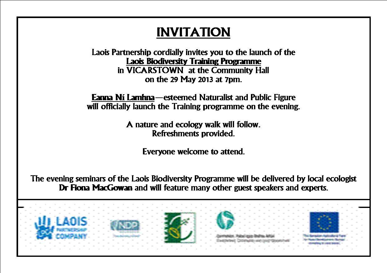Laois Partnership Launch of Laois Community Biodiversity – Launching Invitation Card
